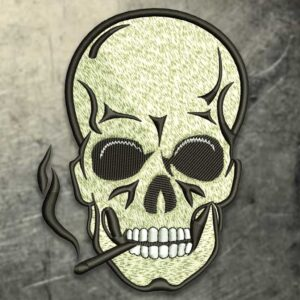 Smoking Skull Embroidery Design
