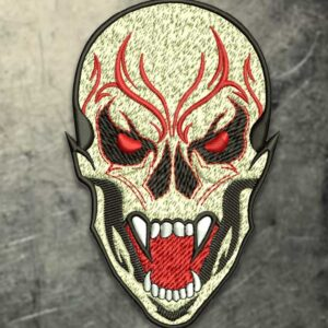 Vampire Skull Embroidery Design